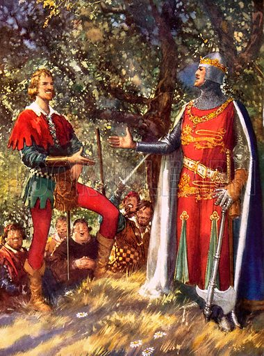 Robin Hood, medieval outlaw of English folklore, and King Richard the Lionheart.