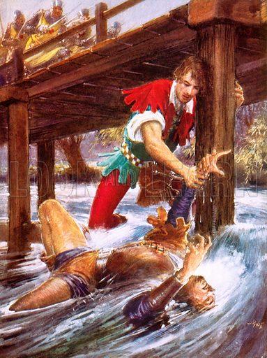 Robin Hood rescuing Little John from a river.