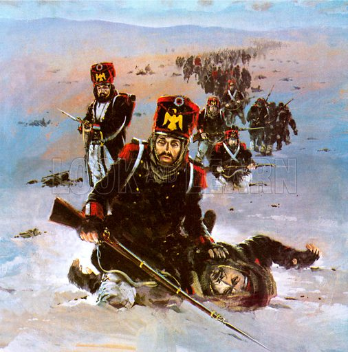 Retreat of Napoleon's French Grande Armee from Moscow, Russis, 1812.