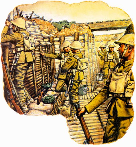 The Defenders: Terror in the Trenches. Trench systems were widely used during the First World War with (bottom) cross section of trench. NB Scan of small illustration.