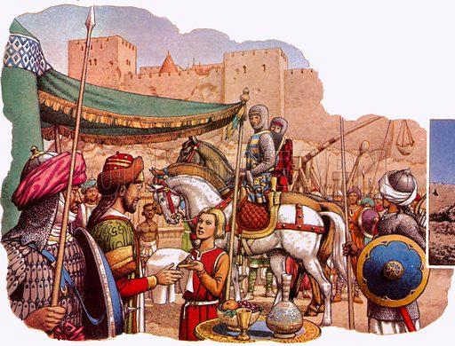 Saladin besieges Kerak Castle.  NB Scan of small illustration.