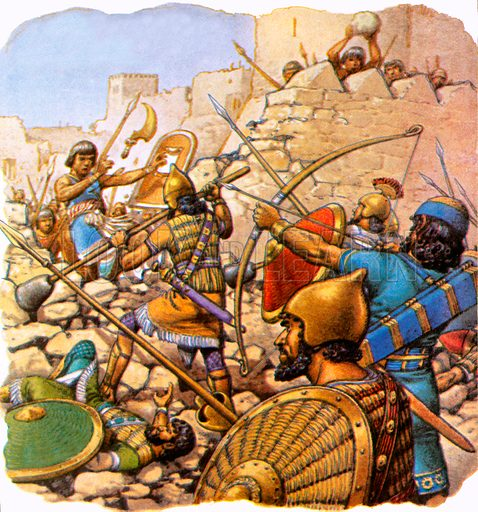 "Ruthless Assyrian ""sappers"" attacking giant walls with hammers and crowbars. NB Scan of small illustration."
