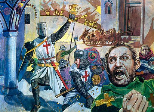 Crusaders looting Constantinople.