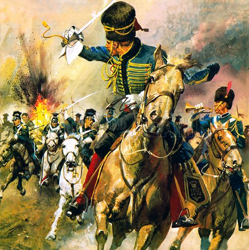 Charge of the Light Brigade, Battle of Balaclava, Crimean War, 1854. Into the Valley of Death. At the Battle of Balaclava many British soldiers were cut down during their heroic charge towards the Russian guns. The episode was immortalised in the poem by Alfred Lord Tennyson.