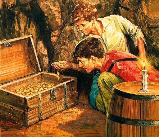 Tom Sawyer and Huckleberry Finn finding the treasure, scene from The Adventures of Tom Sawyer, by Mark Twain.