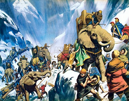 Hannibal crossing the Alps, Second Punic War, 218 BC