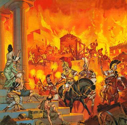 Alexander the Great suppressing a rebellion in Greece, but ordering his soldiers to spare the temples.