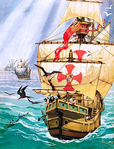 Sailors on Columbus' Santa Maria seeing signs of land.