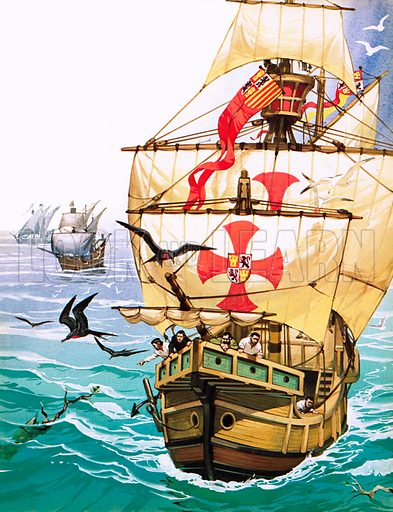 Christopher Columbus' first voyage to the New World, 1492. Sailors on board the Santa Maria seeing signs of nearby land.