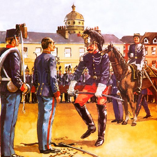 Dreyfus being publicly humiliated,  picture, image, illustration