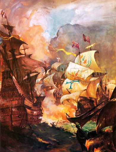 English fire ships attacking the Spanish Armada, 1588.
