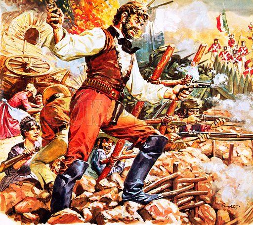 Defending the Alamo.