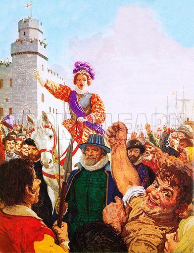 Elizabeth I at Tilbury, picture, image, illustration