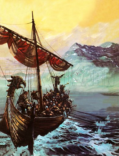 Viking ship, picture, image, illustration