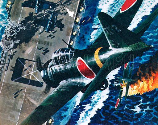 Japanese kamikaze attack on an American aircraft carrier, World War II, 1944–1945