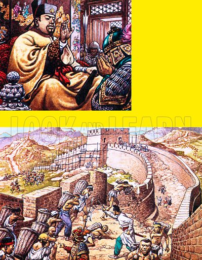 Great Wall of China. Top: Qin Shi Huang, who ruled China from 246 to 209 BC, organised the building of the wall. Bottom: As slaves worked on the construction of the wall, Chinese cavalry patrolled on the outside to repel invaders.