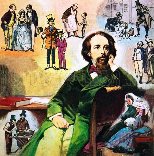 Charles Dickens with his characters.