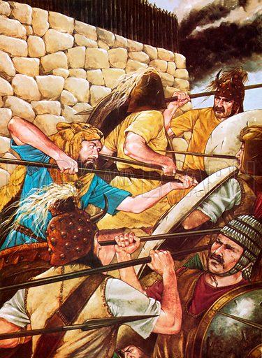 Mycenaean warriors fighting.