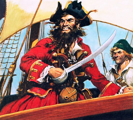 Pirate, possibly the notorious Blackbeard.