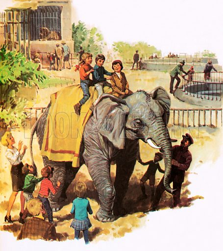 Children riding Jumbo at the London Zoo.