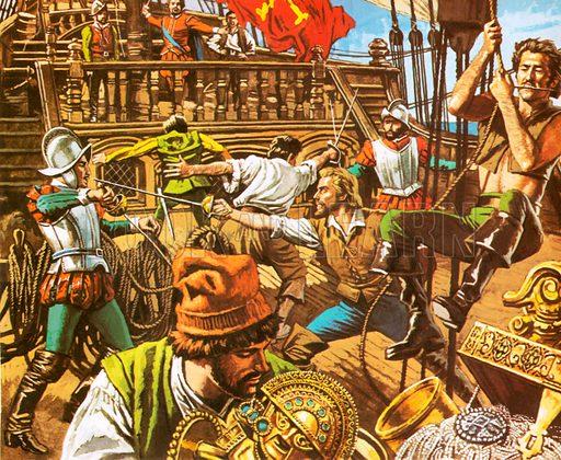 Sir Francis Drake attacking the Spanish