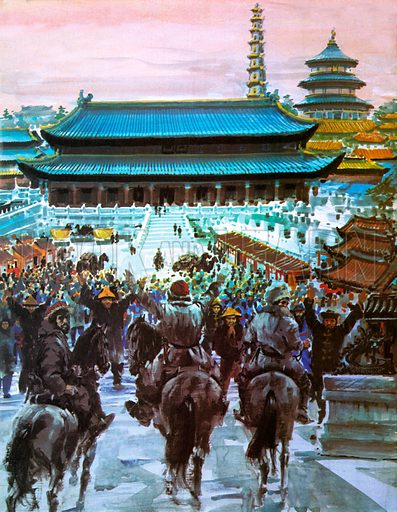 Marco Polo, with his father and uncle, approaching the palace of Kublai Khan in Beijing, China, 14th Century.