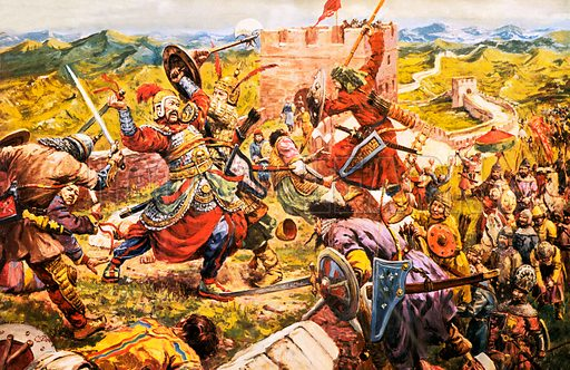 Mongol soldiers breaking through the Great Wall of China.