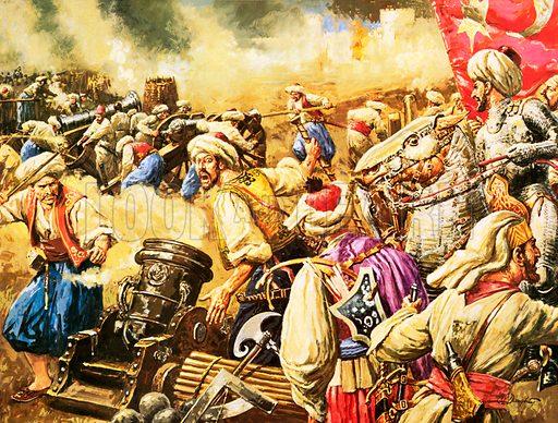 Suleiman's army attacks Rhodes