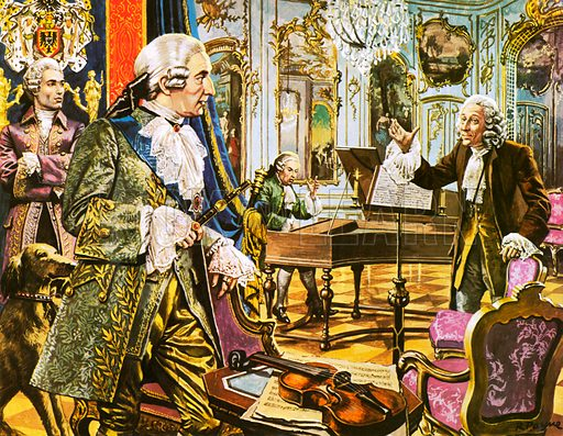Frederick the Great with Count Agarotti (far left) and Voltaire (right) in the music room of his palace at Sans Souci.