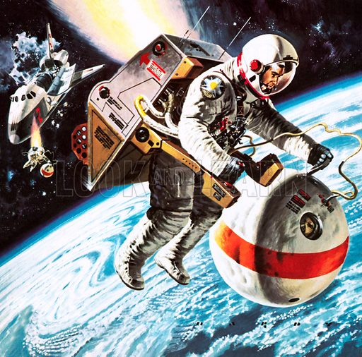 """Lifeboats"" in space, as imagined in 1976.  When space travellers of the future find themselves in difficulties, they may be rescued in spherical ""lifeboats""."