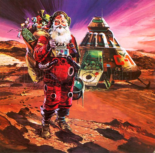 Santa on Mars, picture, image, illustration
