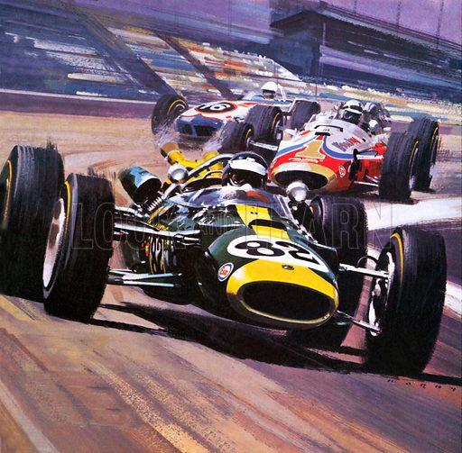 Scottish racing driver Jim Clark's Lotus 38 on the way to winning the Indianapolis 500 motor race, Indiana, USA, 1965.