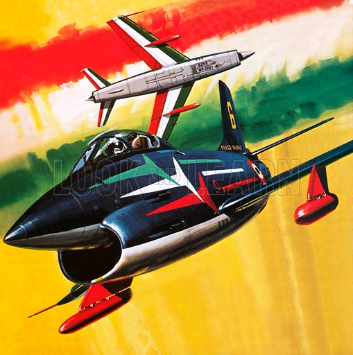 Italian aerobatic team painting the colours of the Italian flag