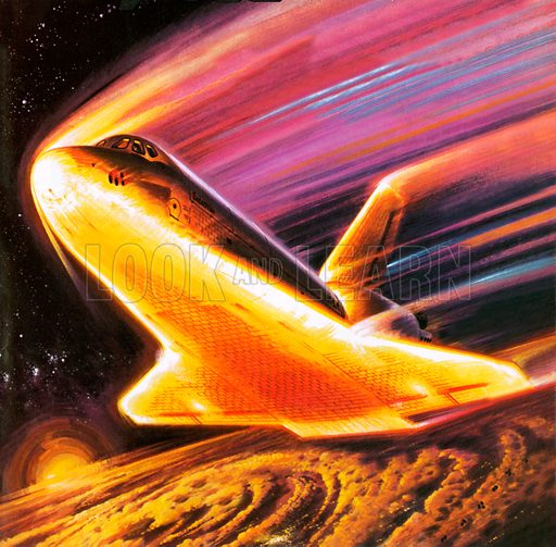The space shuttle imagined re-entering the earth's atmosphere