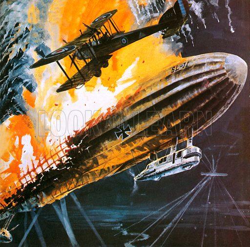 British aircraft shooting down a Zeppelin, World War I, 1914–1918
