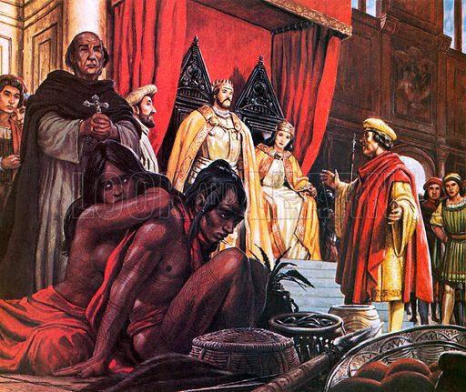 Columbus returning to Spain.