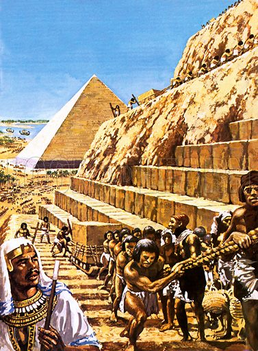 Building the Great Pyramid at Giza, ancient Egypt, 26th Century BC The pyramid was one of the Seven Wonders of the Ancient World.