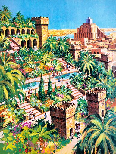 Hanging Gardens of Babylon, one of the Seven Wonders of the Ancient World