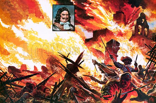"""Henry Morgan's ragged """"army"""" defeating the Spanish foe and destroying the city of Panama."""