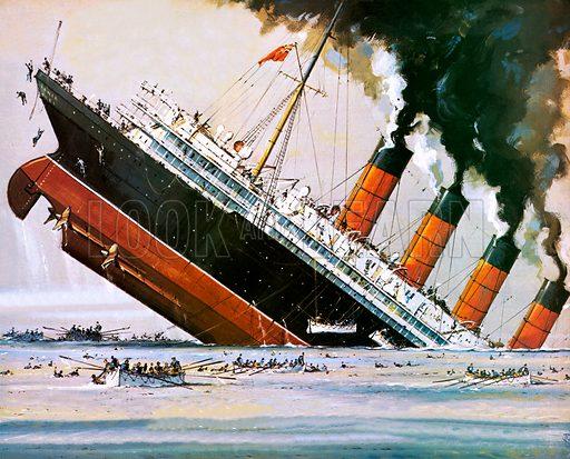 Sinking of the Lusitania by a German U-boat, World War I, 1915.