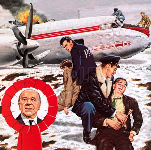Air crash in which the Manchester United team was killed.