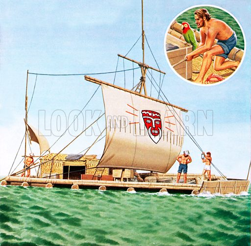 Kon-Tiki, picture. image. illustration