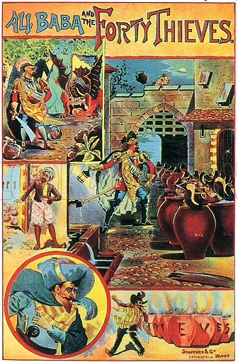 Ali Baba and the Forty Thieves.  Victorian play bill.