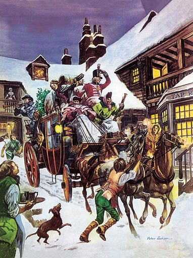 Christmas Day in the 18th century. The stage-coach, packed with people, food and luggage, pulls into the London inn-yard where refreshments await everyone.
