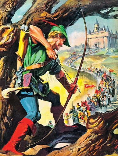 Robin Hood, medieval outlaw of English folklore. NB: Scan of magazine illustration, which is brighter than original artwork.