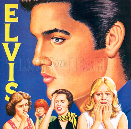 Elvis Presley, with fans weeping at his death in August 1977.