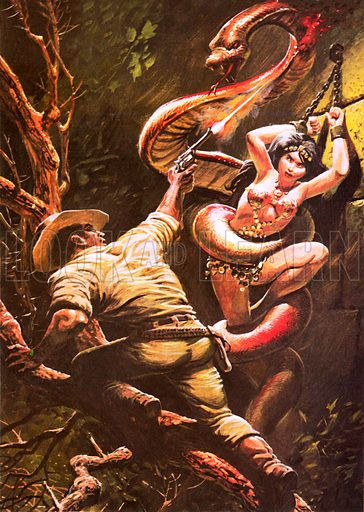 Colonel Percy Fawcett saving a beautiful Indian maiden from a ritual sacrifice at the fangs of a giant sacred snake, as recounted by an adventurer named Tex Harding.