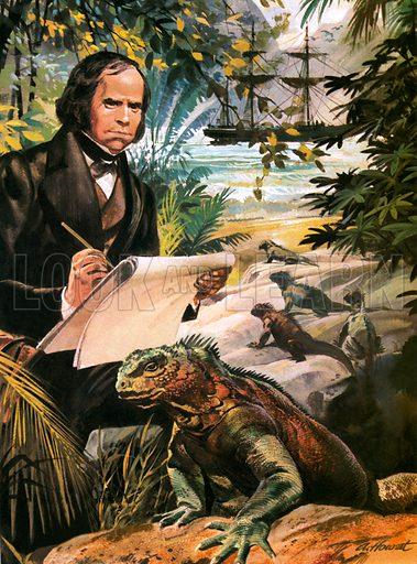 Charles Darwin on the Galapagos Islands.