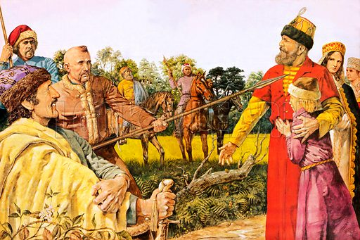 Russian serfs and landowners, picture, image, illustration