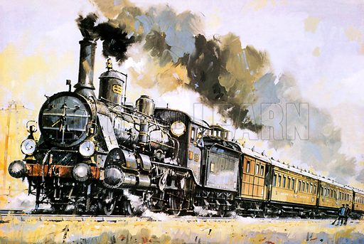 The Orient Express, introduced in 1883.  Pulled here by a Hungarian tandem compound, with outside pipes and steam domes, struggling through the terrain east of Vienna.